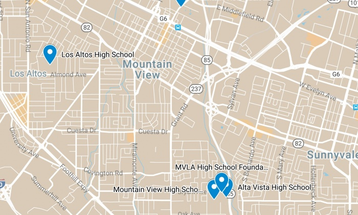 Mountain View Los Altos High School District Map