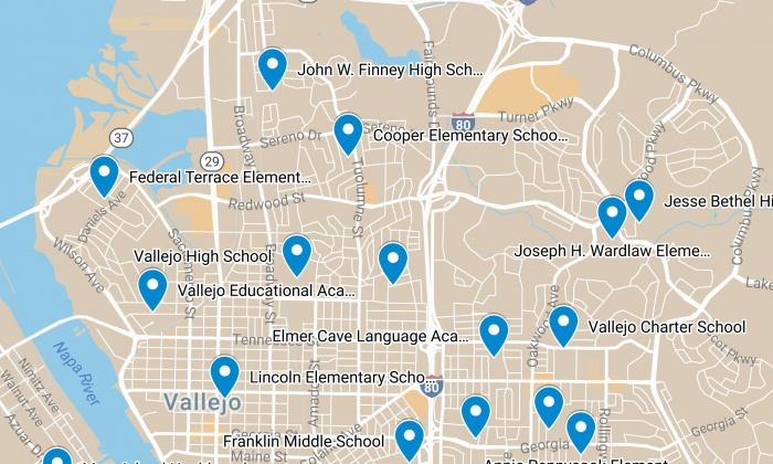 Vallejo City Unified School District Map